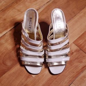 Bally Gold White Strappy Leather Kitten Heels